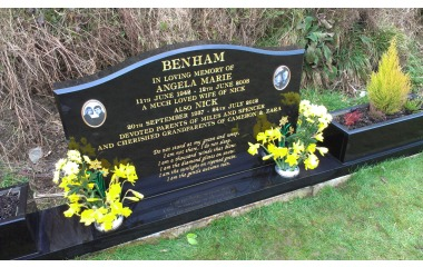 Double- width grave (4ft wide memorial), ogee with planters, black granite, gilded inscription, photo ceramics in frames