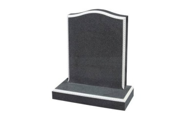 Suitable for 21-24inch wide headstone, ogee, carved rope border, dark grey granite