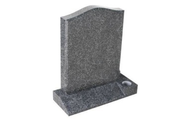 Suitable for 21-24inch wide headstone, ogee, chamfered, part-splayed base, medium grey granite