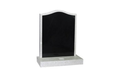 Suitable for 21-24inch wide headstone, ogee, white granite with black granite inlay