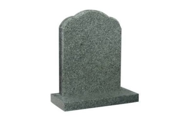 Suitable for 21-24inch wide headstone, oval top with rounded shoulders, chamfered, medium grey granite
