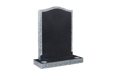 Suitable for larger than 24inch headstone, ogee with rustic recessed edges, black granite