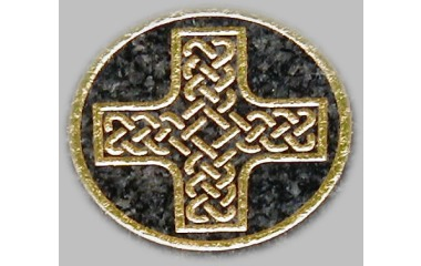 Cross with knotwork, gilded on dark grey granite