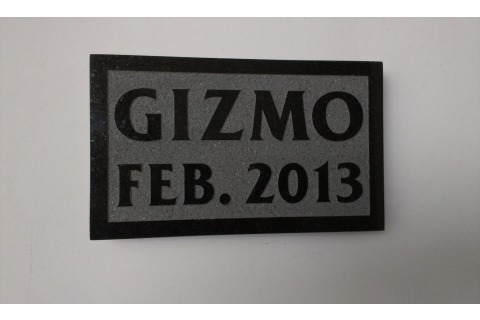 Pet memorial plaque, black granite, raised lettering