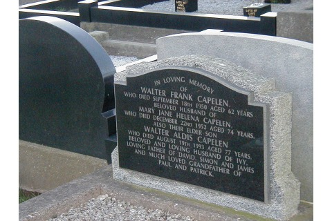 New black granite plaque on the face of the existing pitched, light grey granite memorial (3)