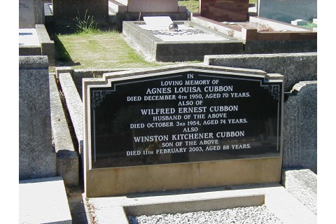 New black granite plaque on the face of the existing sandstone memorial
