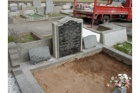 New south african granite plaque on the face of the existing pitched memorial